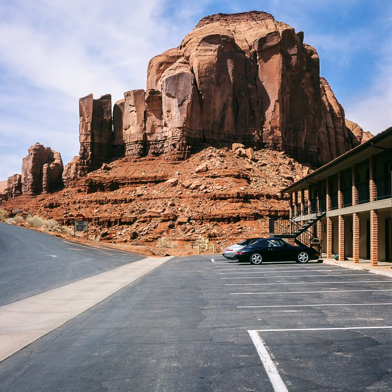Motel parking lot in Monument Valley