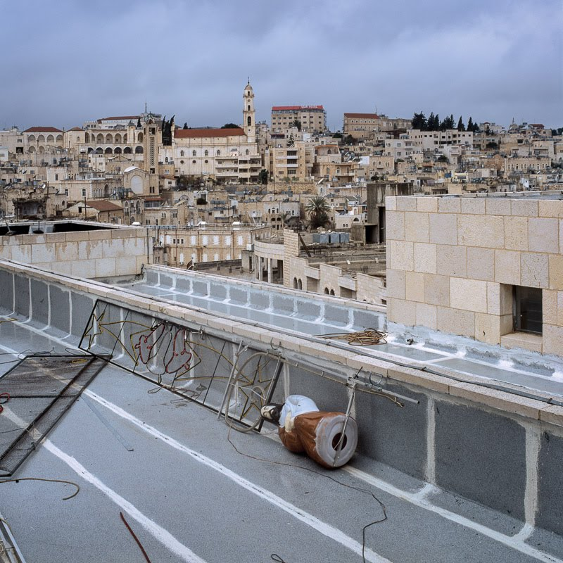 Christmas decorations on the Peace Center roof, Bethlehem.